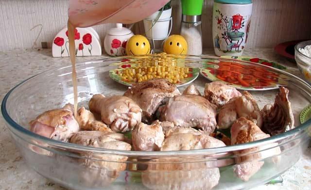 курица в форме для запекания