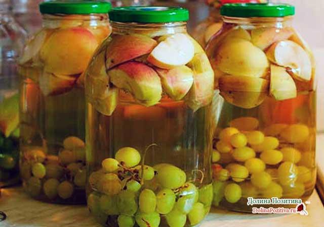 компот из зеленого винограда и яблока