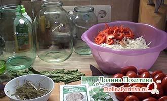 ингредиенты для засолки капусты с помидорами
