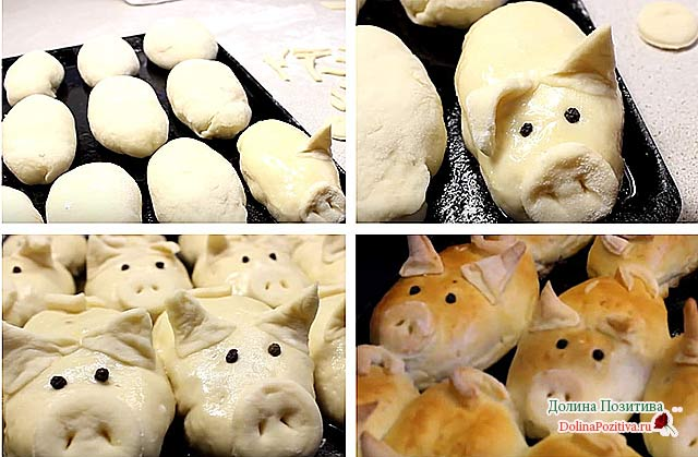 пирожки в виде свинки пошагово