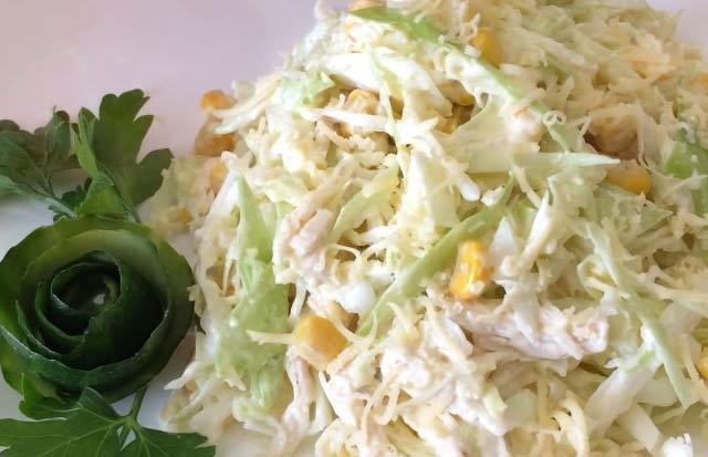 салат из капусты и куриного филе