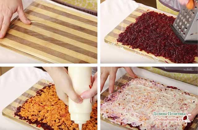 процесс приготовления салата сельдь под шубой