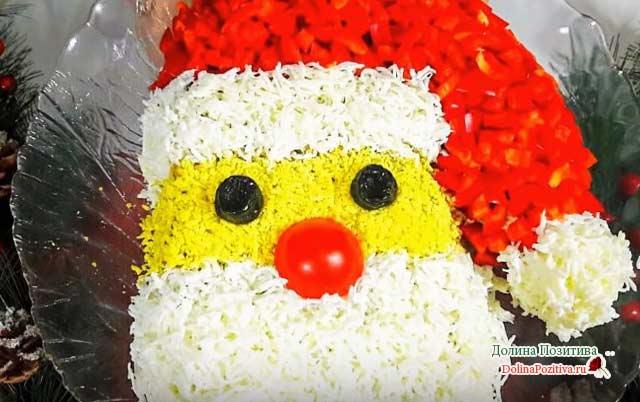 салат на новый год дед мороз