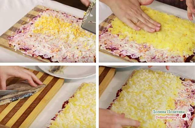 как сделать сельдь под шубой пошагово