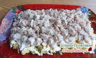 мясной слой салата