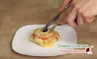 куриная котлета с сыром и помидором