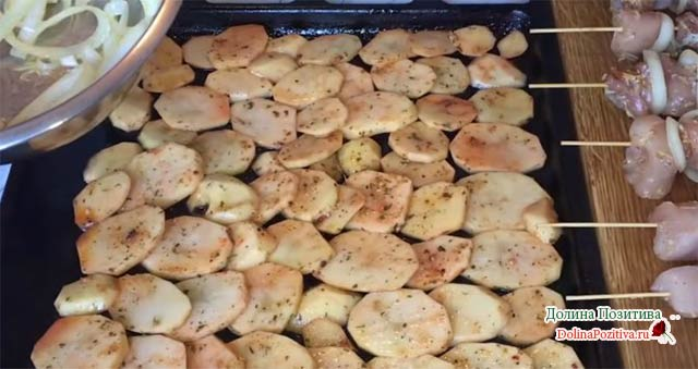 картофель с шашлычком