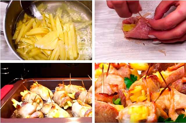 мясной рулет с картошкой пошагово