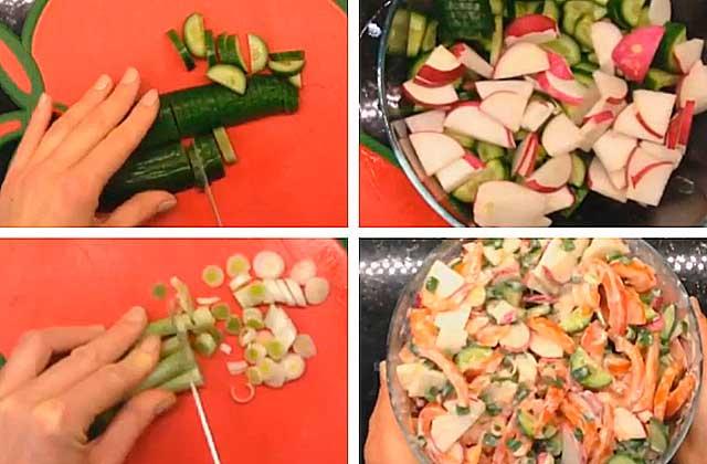 салат с редиской, огурцами и помидорами