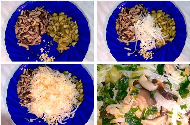 салат из груздей и квашеной капусты