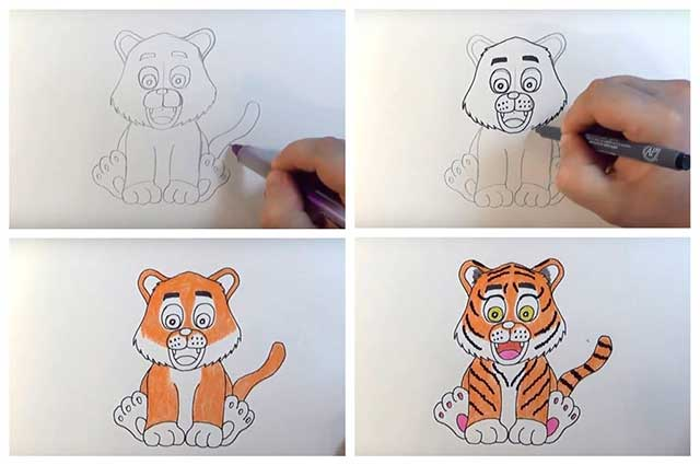 легкий рисунок тигра